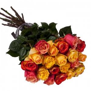 Букет от 11 до 15 рози в оранжево/жълта гама (ти избираш броя)