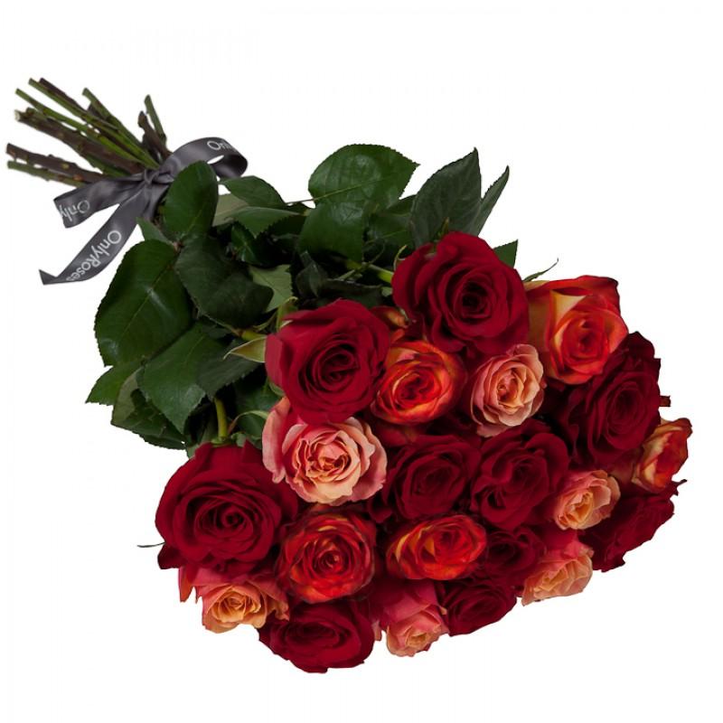 Букет от 11 до 15 рози червено/оранжев микс (ти избираш броя)