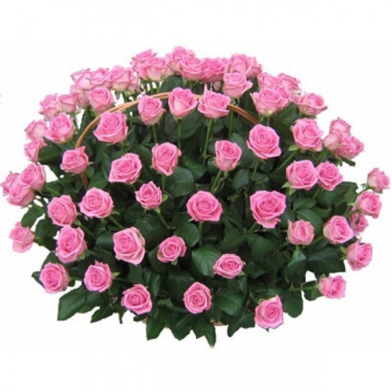 Кошница от 101 Розови Рози