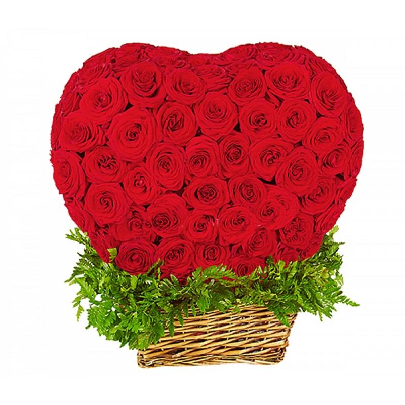 Кошница от 201 Червени Рози във форма на сърце