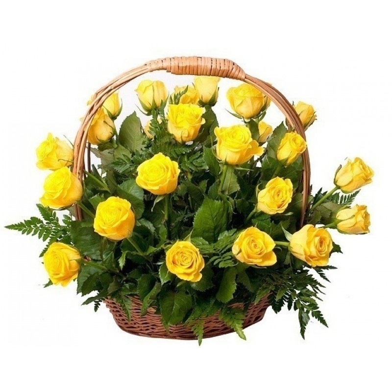 Кошница от 35 жълти рози и зеленина