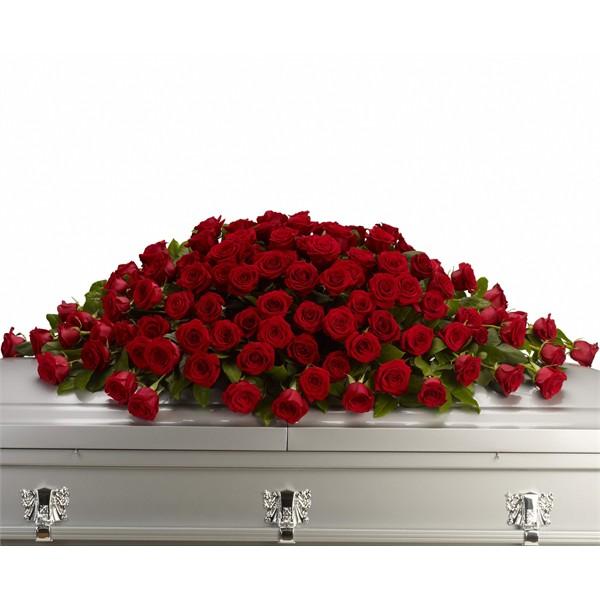 Траурна аранжировка от червени или бели рози по Ваш избор