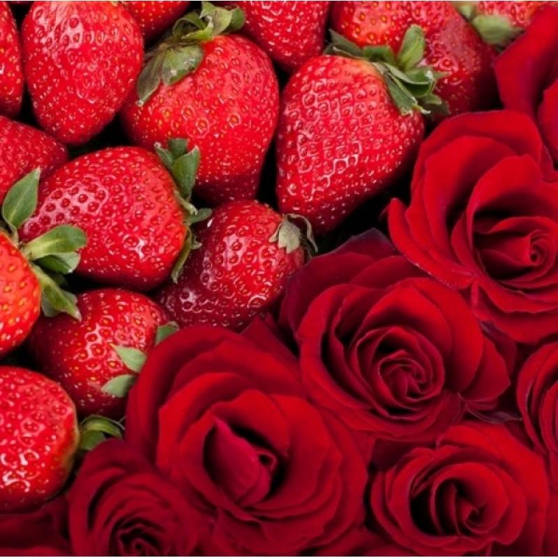 Картинка роза и клубника